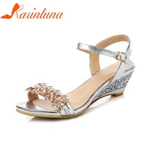 KARINLUNA 2018 Large Size 33-43 Women Sandals Wedge Mid Heels Buckle Strap Women  Shoes Woman Party Wedding Sandals 0b3abfe9ad7d
