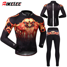 BIKELEE 2017 Newest Eagle Design Ropa Ciclismo Mountain Road Bike Long Sleeve Pants Silicon Gel Pads Cycling Jersey Set