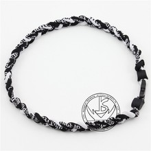 "Outdoor Anions Sports Health Energy Necklace Titanium sports woven 3 Rope necklace 16""18""20""22"" free shipping(China)"