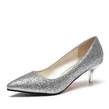 Women Wedding Shoes Silver Gold Dress Shoes Pointed Toe Woman Sequined Cloth Med heels Shoes Glitter Pumps Boat Shoe Spring 2987