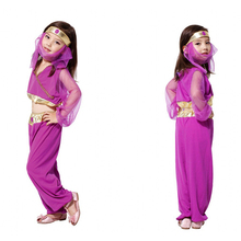 Fancy Masquerade Party Arab Princess Girl Costume Children Cosplay Dance Dress for Kids Purple Halloween Clothing Lovely Dresses