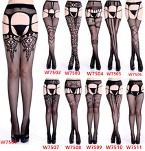 Buy 2018 Women Sexy Stockings Lingerie Stripe Lace Elastic Transparent Black Hollow Tights Thigh Sheer Embroidery Pantyhose