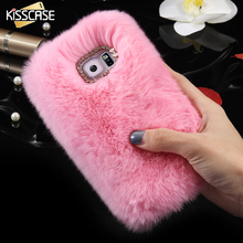 KISSCASE Rabbit Hair Case For Samsung S7 S7 Edge Bling Diamond Plush Furry Fur Cell Phones Cover For Samsung Galaxy S7 / S7 Edge