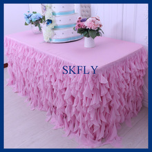 CL037B 6 ft rectangle 30'' wide 72'' long 30'' drop curly willow frilly pink fancy wedding tablecloths with top
