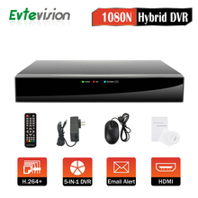 Evtevision 4CH Hybrid 5-in-1 1080P Lite 1080N Realtime CCTV Security DVR Video Recorder Remote Access P2P Fits AHD/TVI/CVI camer