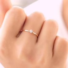 Valentines Gift Rose Gold color Titanium Steel 1mm Fine Four Prong Setting Cheap Cubic Zircon Wedding Rings Size 3-10 availabe(China)