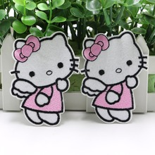 5PC Hello Kitty Iron On Patches Appliques sew on children's clothes embroidery adhesive decorative stickers sewing patches z1102