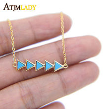 2017 fine 925 sterling silver gold color Arrow triangle pendant turquoises stone fashion women personalized gold color necklace(China)