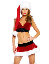 New Style 2016 New Year Cosplay Adultes Red Sexy Santa Costume Women Cosplay Santa Claus Costume For Women S88011