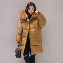 Fashion Loose Casual Solid Color Thickening Women'S Winter Coat Plus Size Warm Elegant Large Fur Collar Hooded Ladies Parkas(China)