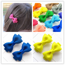 2pcs/lot boutique children baby girls solid mini ribbon hair clip bows barrettes hairpins accessories Hairgrips bowknot headwear(China)