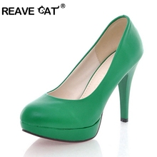 REAVE CAT New arrival Spring summer Shoes woman high heels Ladies pumps Platform Sale On shoes PU Patent leather Glitter Fashion(China)