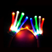 1 Pair LED Finger Light Glowing Mittens Gloves Colorful Stage Performing Halloween Party Luminous Gloves Festive Event Supplies