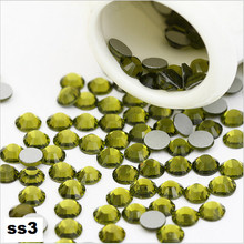 ss3 1440pcs/pack Flat Back Best Crystal Olivine ( 3d Nail Art decorations ) Non Hot Fix Glue on rhinestones for nails diy