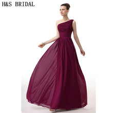 H&S BRIDAL Chiffon Burgundy One Shoulder evening dress 2017 Elegant Cheap Evening gown Pleated Draped dresses party evening wear(China)
