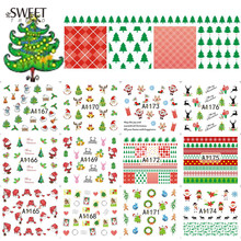1Sheet Water Transfer Nail Art Sticker Merry Christmas Nail Decals Cute Nail Tips Decoration Manicure Xmas Gift LAA1165-1176