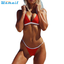 Womail Suit Bikini New Sexy Women Swimsuit Push Up Padded Bra Beach Bikini Patchwork Swimwear Set 2017 drop shopping 1PC(China)