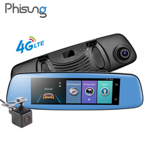 "7.84""Android ADAS 4G wifi dash cam dual lens 1080p car rearview mirror camera Phisung E06 w/ night vision cam Remote Registrar"