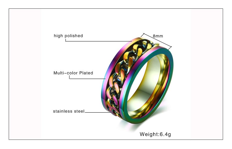 Meaeguet 8mm Wide Rainbow Stainless Steel Spinner Chain Ring For Men Women Hiphop Rock Style Wedding Bands Jewelry Gift (7)