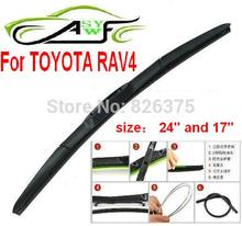 "Free shipping car windshield wiper blade for TOYOTA rav4 size 24"" and 17"" Car Wipers Blades Natural Rubber Wiper,Car Accessory(China)"