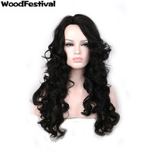 WoodFestival woman black wig long hair wigs for african americans wavy wig synthetic wigs for black women heat resistant(China)