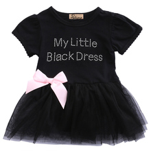 Black Bow Short Sleeve O-Neck Cotton Summer Baby Toddler Top Bow-knot Plaids Dress Outfit Kids Cotton Sundress(China)