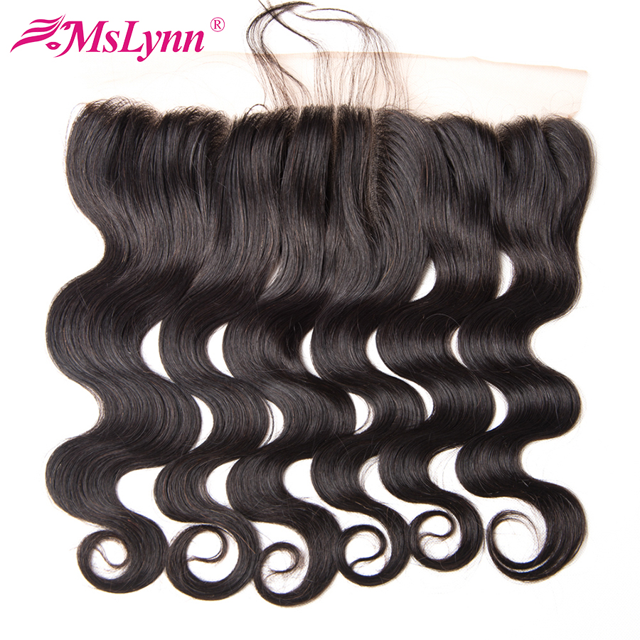 Mslynn 13×4 Pre Plucked Lace Frontal Closure With Baby Hair Brazilian Body Wave Closure Human Hair Non Remy Hair