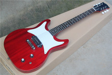 Factory custom transparent red body electric guitar with P90 pickups,white tuners,white pickguard,can be customized