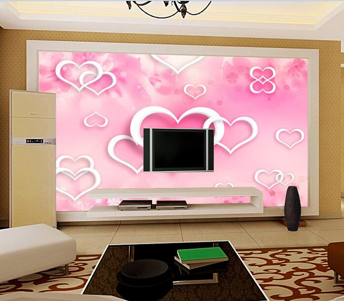 3d wallpaper custom mural non-woven 3d room wall paper sticker Pink heart snowflakes painting photo wallpaper for walls 3 d<br><br>Aliexpress