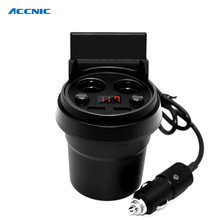 ACCNIC Car Charger Cup Phone Holder Cigarette Lighter Sockets Power Adapter with Dual USB Ports LED for iPhone 7/5/6/6S Plus(China)