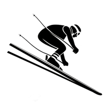 14.9CM*12.8CM Interesting Skiing Alpine Sport Silhouette Vinyl Car Stickers Black/Silver S9-0460(China)