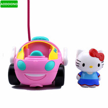 Toy RC Hello Kitty Remote Control Car Pink Kt Doraemon Electric with Music Light Cute Brinquedos Children Birthday Gift