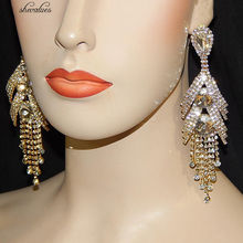 Shevalues Gold Rhinestone Big Tassel Earrings Teardrop Crystal Long Drop Dangle Earrings Chandelier Statement Earrings Women