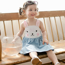 2016 Summer girls pure cotton suspender bunny dress baby girl rabbit slip denim blue princess dress for 2-8years choose size