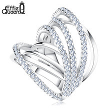 Effie Queen Newest Design Fashion Jewelry Shiny CZ Vintage Luxury Women Big Rings for Wedding Cocktail Party Finger Ring DR93(China)