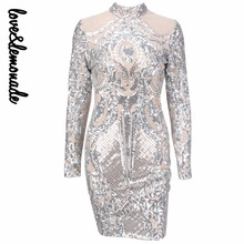 Love&Lemonade Silver Geometric Graphic Sequins Nude  Lining Long Sleeves Dress  TB 10153