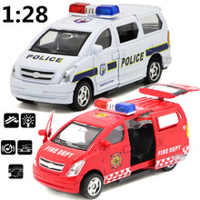 Children's toys alloy pull back car model, 1:28 high simulation business vans cars, police cars, ambulances,free shipping(China)