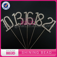 Free Shipping,6cm Rose Gold double number 13/16/18/21/25/30/40/50/60/70/80/90 rhinestone cake topper,birthday number cake topper(China)