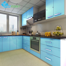 60cmX3m Kitchen Cabinet Renovation Stickers Blue DIY Decorative Film Glossy PVC Self adhesive Wallpapers Roll Waterproof Paper(China)