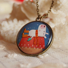 Cute Cow Pendant Necklace Vintage Winter Jewelry Long Necklaces Best Christmas Gifts for Kids  XL054