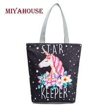 Miyahouse 4 Colors Unique Women Canvas Tote Handbag Female Cartoon Unicorn Print Shoulder Shopping Bag Ladies Casual Beach Bags(China)