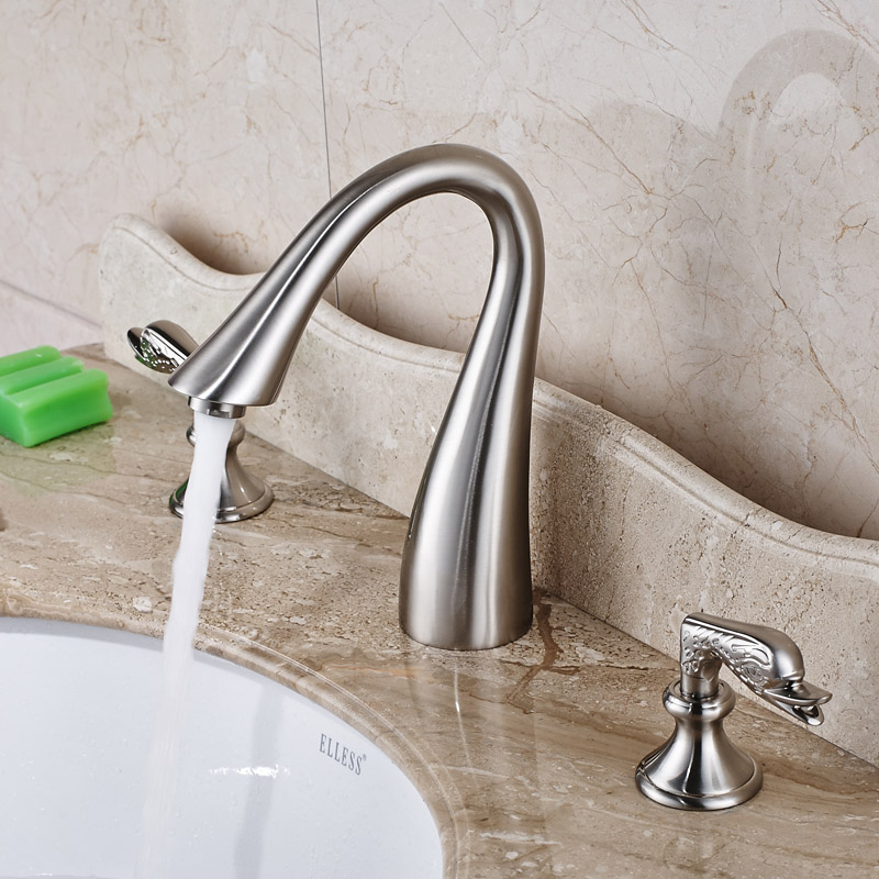 Goose Neck Bathroom Brushed Basin Sink Faucet Dual Handles Widespread Washbasin Mixer Taps<br><br>Aliexpress