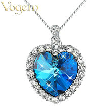 VOGEM Blue Titanic Necklace Heart Sparkling Heart Of The Ocean Pendant Austrian Crystal Love Chain For Women Fashion Jewelry(China)