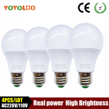 4PCS/LOT High quality led bulb e27 led lamp B22 3w 5w 7w 9w 12w 15w 110V 220V 230V Energy Saving Home Lighting aluminum cooling