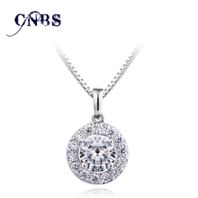 Hearts&Arrows cut 0.75 carat AAA CZ Crystal Round Halo Pendant Necklace Cubic Zircon Goddess Necklace&Pendant N10020(China)
