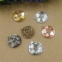 BoYuTe 10Pcs 18*20MM Brass Filigree Heart Pendant 6 Colors Etched Sheet Diy Pendant Charms for Necklace Jewelry Making