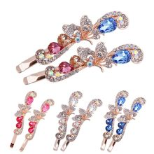 Buy 1Pair Butterfly Peacock Hair ClipS Korean Women Girls Crystal Rhinestone Barrette HairpinS Hairband Clamp Hair Accessories for $1.35 in AliExpress store