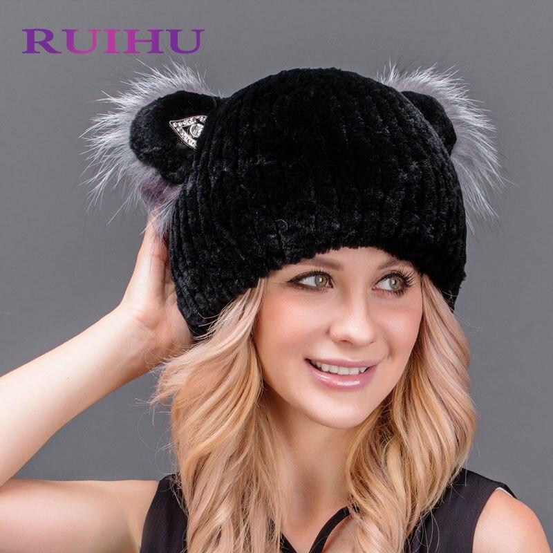 RUIHU WomenS Winter Hat Natural Rabbit Fur Wool Knitted Hat with Cute Cat Ears Female Hats For Women Beanies Headgear RHM654Îäåæäà è àêñåññóàðû<br><br>