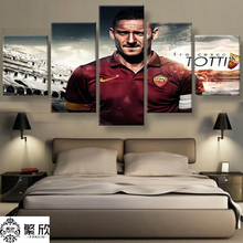 5 Panel Canvas Printed Serie A AS Roma Totti Painting For Living Picture Wall Art HD Print Decor Modern Artwork Football Poster