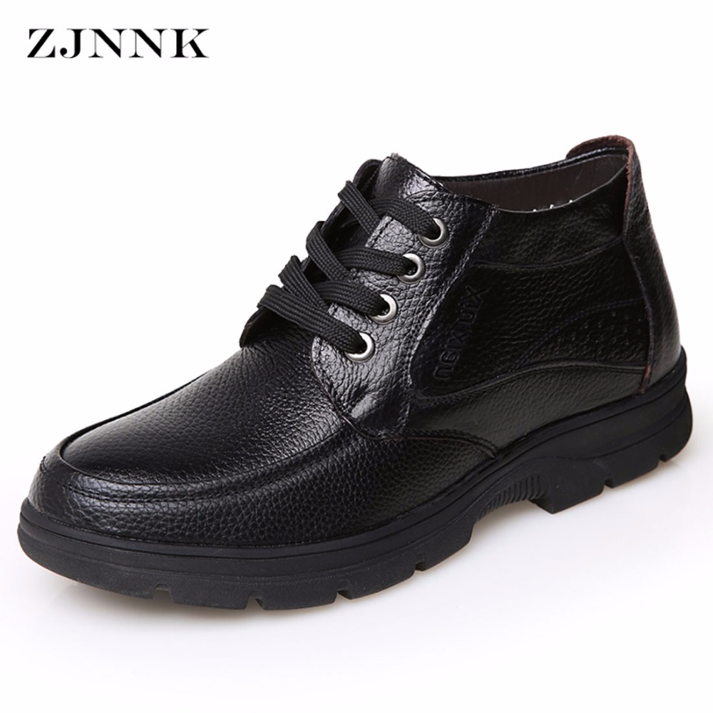 ZJNNK Genuine Leather Men Winter Snow Shoes Male Casual Shoes Lace-Up Mens Black Brown Warm Shoes For Father Hot Sale<br>